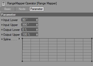 The settings for the range mapper