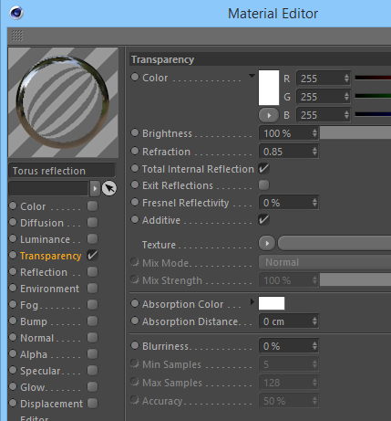 The material settings for the torus